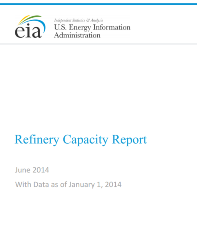 Image for Refinery Capacity Report
